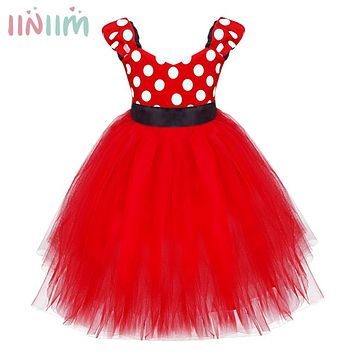 iiniim Girl Cosplay Dresses Red Rose Petal Dress Wedding Easter Bridesmaid Party for Baby Children's Dresses Toddler Clothing