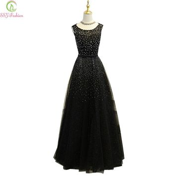 Luxury Beading Black Evening Dress The Bride Banquet Elegant Sleeveless Prom Dresses Long Party Gown