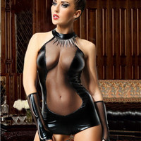 Hot Sexy Sheer Mesh Faux Leather Lingerie Bodysuit Teddies Erotic Club Party Women Sexy Costumes Outfit Uniform+Gloves - Lingerie Life