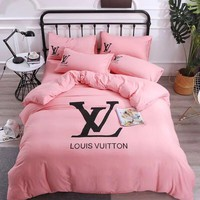 Pink LV Louis Vuitton Blanket Quilt coverlet Pillow shams 4 PC Bedding Set
