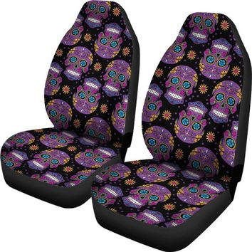 Skull Car Seat Covers - Black And Purple Sugar Skull Pattern