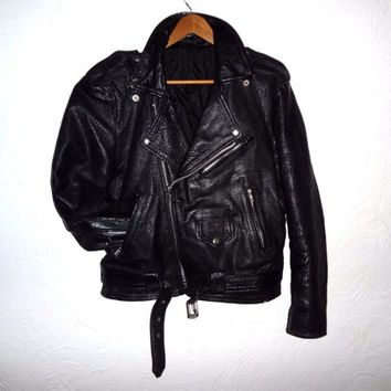 Black Leather Moto Jacket - Medium Mens - Vintage 70s - Punk Jacket -