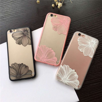 Fashion Engraving Flower Lace Hollowed-Out Dull Polished Phone Cover Back Cover Case For iPhone 6 6s 6/6s Plus XY3855 XY3856