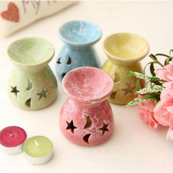 Ceramic Hollow Out Essential Oil Candle Warmer