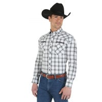 Wrangler Men's Jack Daniel's Logo Long Sleeve Spread Collar Plaid Shirt Grey White