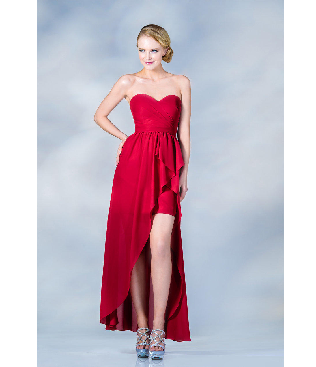 2013 Prom Dresses- Red High-Low Strapless from Unique VintageRed High Low Prom Dresses 2013