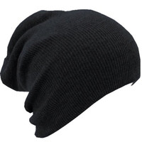 Slouchy Beanie Slouch Skull Hat Ski Hat Snowboard Hat Ribbed Beanie,One Size,Black
