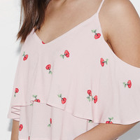 Kendall and Kylie Rose Print Cold Shoulder Top at PacSun.com