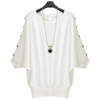 White Batwing  Buttoned Sleeves Ribbed Knit  Loose Top