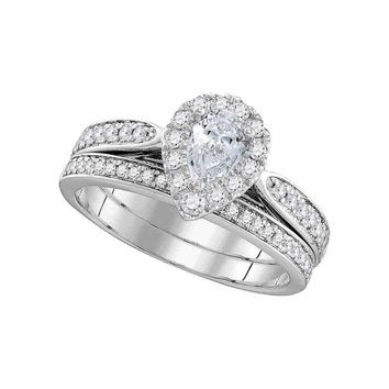 14kt White Gold Women's Pear Diamond Bridal Wedding Engagement Ring Band Set 1.00 Cttw - FREE Shipping (US/CAN)