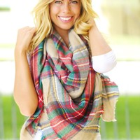 Red Plaid Blanket Scarf