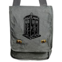 Tardis Messenger Bag Doctor Who Gray Canvas Messenger Police Box