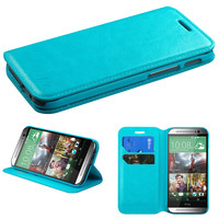 Book-Style Premium Leather Wallet Case for HTC One M8 - Blue