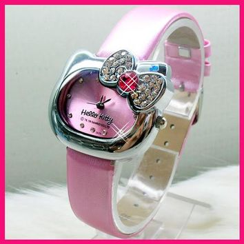 New Arrive Lovely Hello Kitty Watch Children Girl Women Dress Fashion Crystal Quartz Wristwatch Female Watch