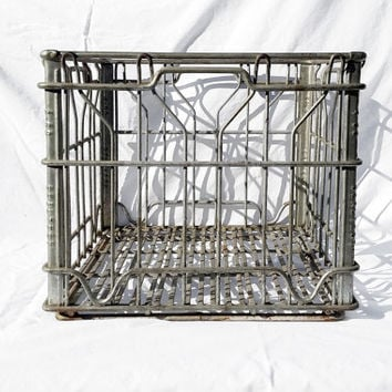 Vintage Metal Sealtest Milk Crate, Wire Storage Basket Country Rustic Farm; Industrial Storage Organizer