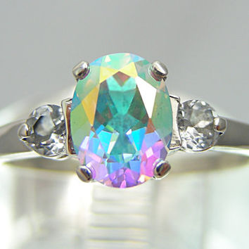 Unique Engagement Ring | Unique Wedding Ring (Mercury Mist 2ct Accent Sterling Silver Mystic Topaz Ring MTO Size 4-16) Northern Lights Topaz