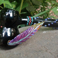 ONE OF A KIND Peyote Beaded Feather Hammer Glass Pipe