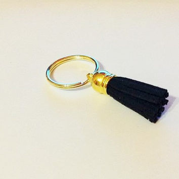 Black keychain, black tassel keychain, tassel keychains, gold keychain, mom keychain, tassel accessories, sister keychain