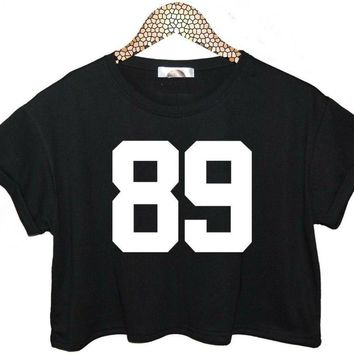 89 Letters Print Women Summer Crop Top Short t shirt Sexy Slim Funny Top Tee Hipster Black White Drop Ship  ZT-3