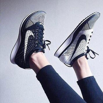 Nike Flyknit Racer Women Men Fashion Running Sport Casual Shoes Sneakers