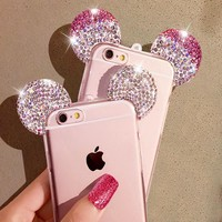 HIgh Quality 3D Mickey Mouse Ear Case For iPhone 6 6S 4.7 Inch Rhinestone Ears Soft Transparent TPU Protect