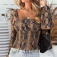 Sexy Club Blouse Women Puff Square Collar Blouse Shirts Snaked Print Twist Vintage Blouse Shirts