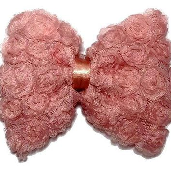 "Light coral 4.5"" JUMBO shabby bow"