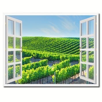 Wine Vineyards Napa Valley California Picture French Window Framed Canvas Print Home Decor Wall Art Collection