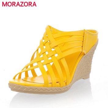 MORAZORA 2017 ladies slippers Gladiator high heels wedges sandals shoes women weaving