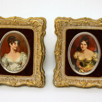 Pair of Cameo Creations Portraits in Ornate Gold Frames with Red Velvet Backgrounds