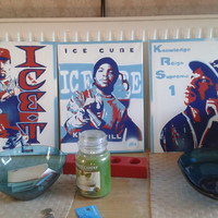 ice cube canvas painting, hip hop, , West coast, rap,pop, los Angeles, stencils & spray paints, american,kill at will,90s,album art,red,blue