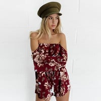 Red Wine Off Shoulder Long Sleeve Floral Romper [10922125523]