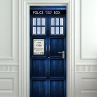"Door STICKER Police box mural decole film self-adhesive poster 30x79""(77x200 cm)"