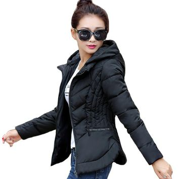 Fashion Short Winter Jacket Women Slim Female Coat Thicken Parka Cotton Hooded Fur Collar candy-colored Ladies Jacket