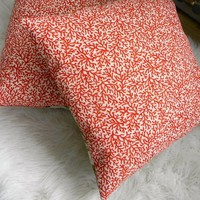 red coral print pillow cover 16x16 by pillowhappy on Etsy