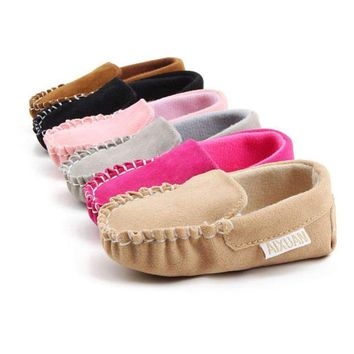 US Newborn Baby Girls Boys Crib Shoes Non-slip Soft Sole Toddler Shoes Prewalker