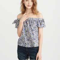 Womens Tie-Sleeve Off-The-Shoulder Top | Womens Tops | Abercrombie.com