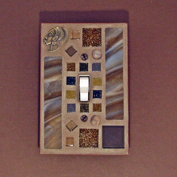 brown mosaic stained glass switchplate toggle light switch cov - Decorative Light Switch Covers