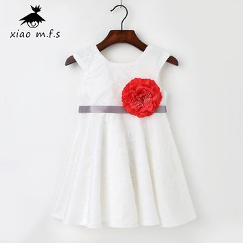 Flower Girl Lace Dress For Toddler Party and Wedding 2017 Spring 3D Flower Baby Children Clothing 1t 2t 3t 4t 5t MFS2797