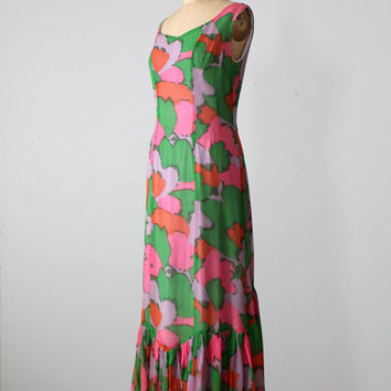 SALE 1960s Maxi Dress / Vintage Mod Print Dress