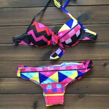 Geometry Bandage Bikinis Women Swimsuit Bathing Suit