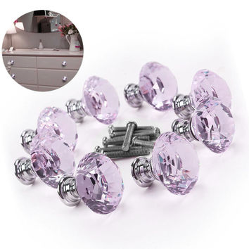 8pcs Crystal Glass Diamond Furniture Handles Drawer Wardrobe Kitchen Cabinets Cupboard Door Pull Knobs DIA 30mm Sale
