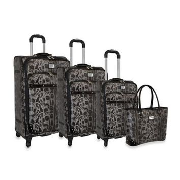 Adrienne Vittadini Leopard Pebble Grain Collection 4-Piece Spinner Luggage Set in Black