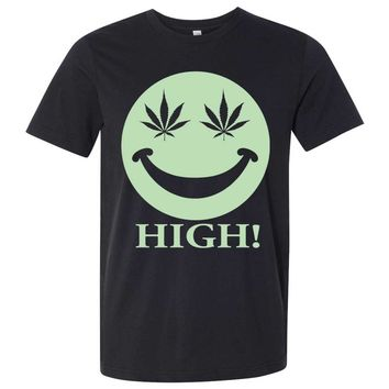 Glow in the Dark Stoner Smiley Face Asst Colors Mens Fitted Tee