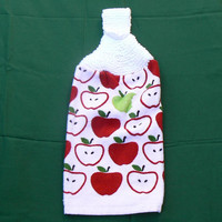 Red and Green Apple Hanging Cotton Kitchen Towel With Hand Knit Topper and Button Closure