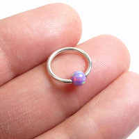 16g(1.2mm) with opal(4mm) captive bead 925 sterling silver ring,cbr,rook,tragus,helix,eyebrow,septum,hypoallergenic hoop,piercing jewelry