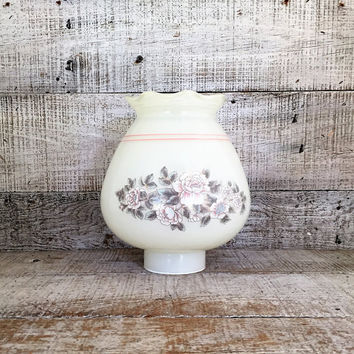 Milk Glass Lampshade with Pink Floral Design Glass Lampshade White Hurricane Shade Glass Light Globe Antique Light Fixture Shade