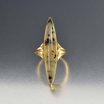 Edwardian Gold Navette Dendritic Agate Ring