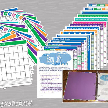 The EASY Life Calendar & Planner Package - Kit contains 44 page PDF document - INSTANT Download - Printable Organizer and More
