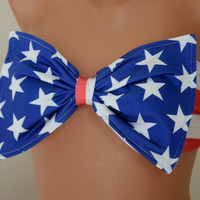 PADDED....THINER BACK American flag bow bandeau bikini top with pads bow bandeau bikini bow bikini top women's fashion